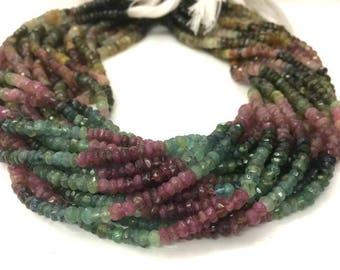 """5 strand Tourmaline beads 4-5mm, Multi Tourmaline faceted rondelle beads 13""""inch, Multi Tourmaline Necklace"""