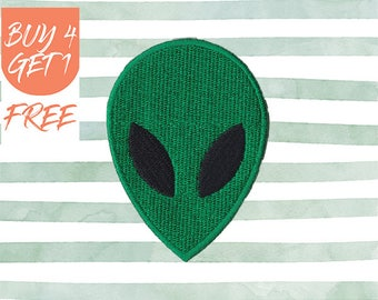 ET Patches Alien Head Patch Iron On Patch Embroidered Patch Green Alien Celestial