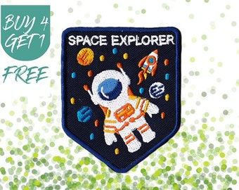 Space Patches Space Explorer Patch Iron On Patch Embroidered Patch Spaceman NASA