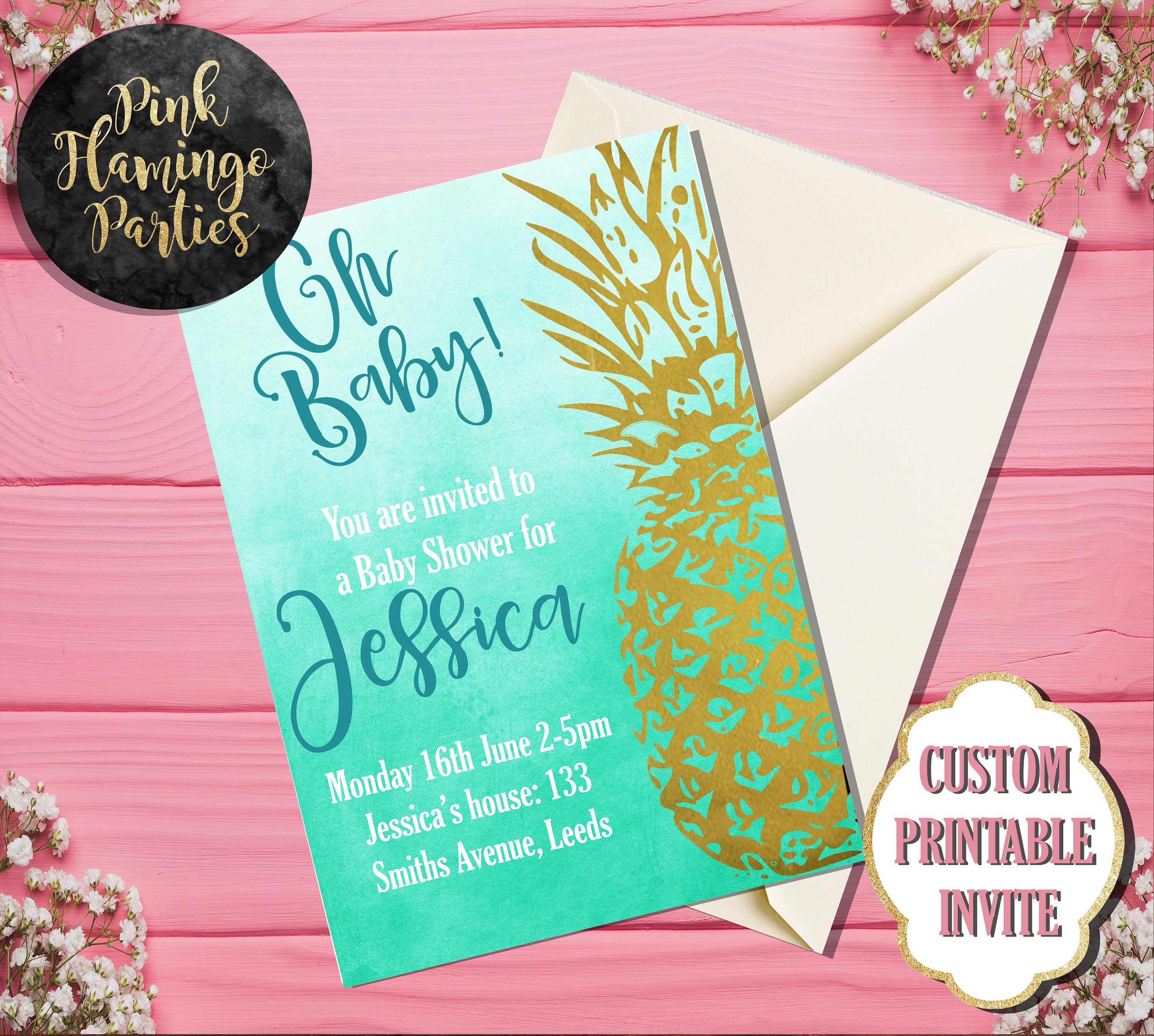 Gold Glitter Pineapple Tropical Baby Shower Invitation, Teal Floral ...