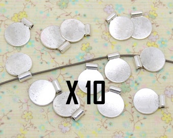 10 x Pearl pendant medal round flat silver plated 1.2 cm