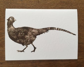 Pheasant Print Collograph A6 card with envelope nature, birthday, greetings art card handmade wildlife design collograph -bird card