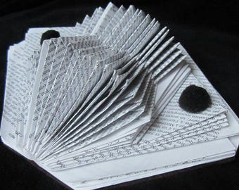 Book folded business card holders using object