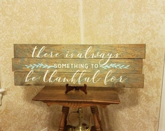 """Vintage look art piece """"there is always something to be thankful for"""""""