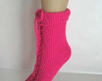 Night slippers wool fuchsia