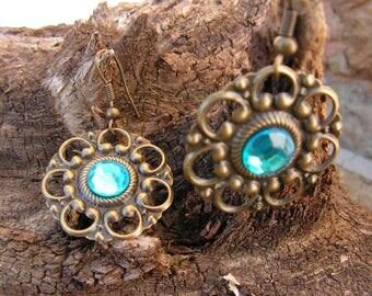 Vintage earrings, bronze and blue rhinestones