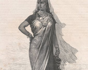 Algeria 1881, Woman from Rhadames, Old Antique Vintage Engraving Art Print, Woman, Headdress, Necklace, Dress, Pither, Bangles, Jewelry