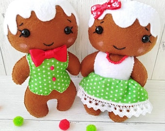 Felt Gingerbread Man Girl Christmas Ornaments Decorations Felt Christmas Tree Ornaments Gingerbread House Christmas Party Felt Toys