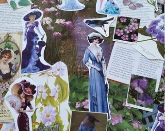 OOAK Purple Victorian Botanical Paper Ephemera, Collage pack, 65+ pieces paper pack, Paper ephemera lot, junk journal pack, theme paper lot