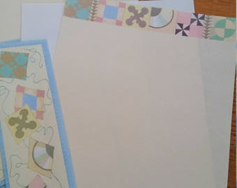 Vintage Stationery Collection ~ Sewing Quilt Squares Stationery Mini Collection - Hallmark