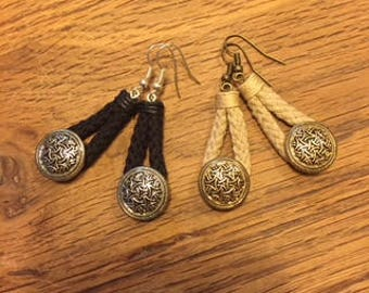 Earrings dangling laces and buttons