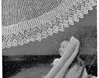 Weldons Vintage PDF Knitted Pattern to make Circular and Square Baby Shawls in 3ply wool