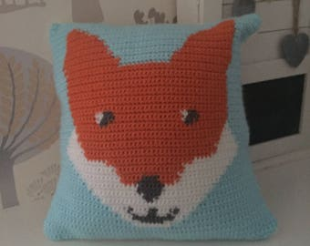 Personalised crochet fox cushion
