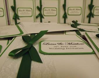 1 x Pocketfold sample Wedding Invitations Lace & Ribbon