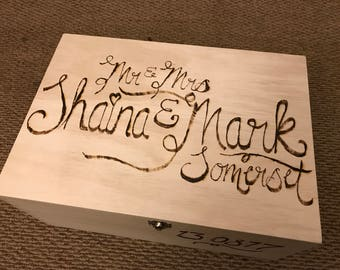 Personalised burnt wooden boxes