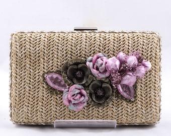 Wallet with mauve. Mauve party bag. Raffia clutch.