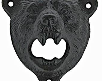 Rustic Black Grizzly BEAR Cast-Iron Farmhouse Wall BOTTLE OPENER