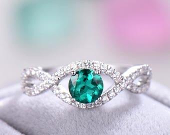 Lab Green Emerald Engagement Ring 925 Sterling Silver White Gold Curved Split Shank CZ Diamond Wedding Bridal Ring Morganite Aquamarine