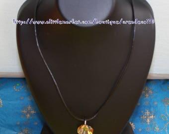 Swarovski Golden Shadow 1.6 cm crystal shell pendant necklace