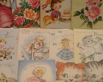 Vintage  to niece birthday  greeting  cards