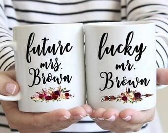 Future Mrs Mug,Lucky mr mug,Mug Set of 2,Newly Engaged Gifts,Parents cup,Personalized mug,Wedding mugs,coffee gift,Mr.and Mrs.coffee mugs