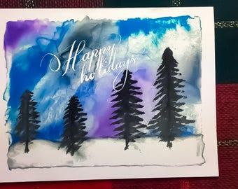 Handmade watercolor calligraphy Christmas greeting card