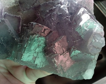 HUGE Rare lined phantom Fluorite cubic with Rare stepped growth