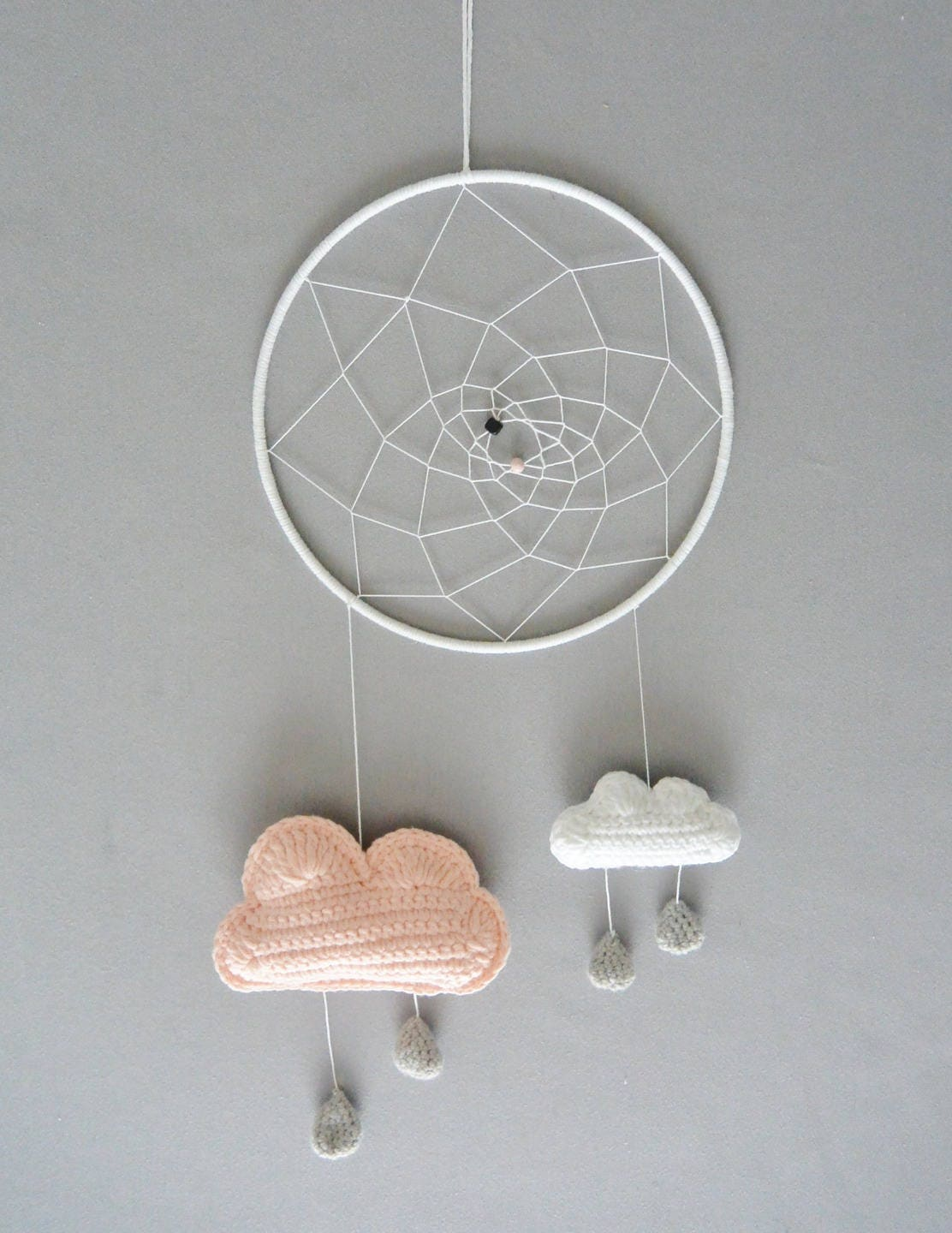 Attrape r ve mobile nuage au crochet fait main - Attrape reve crochet ...