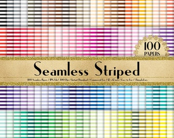 """100 Seamless Striped Pattern Papers in 12"""" x 12"""", 300 Dpi Planner Paper, Commercial Use, Scrapbook Paper,Rainbow Paper,100 Striped Papers"""