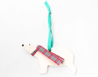 Handmade Ceramic Polar Bear Christmas Decoration