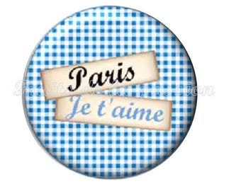 Set of 2 cabochon 18mm round glass, text, Paris, Eiffel Tower, blue