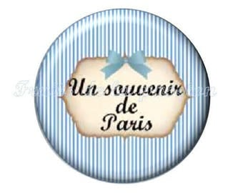 Set of 2 cabochon 16mm round glass, Paris, Eiffel Tower, blue