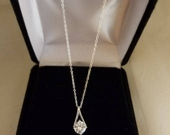 Silver CZ pendant on chain