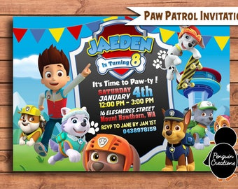 Paw Patrol Invitation. Paw Patrol Birthday Party . Paw Patrol Birthday Invitation