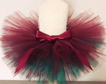 Girls Tutu, Girls ombre tutu ,Green and Red Tutu, Burgundy Tutu,Cake Smash Outfit, Extra Fluffy, Three Layer Tutu