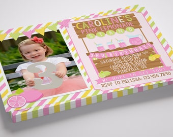 Lemonade Stand Photo Birthday Invitation