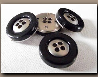 4 black and silver buttons * 23 mm 2,3 cm * 4 holes * Sewing new metal Button