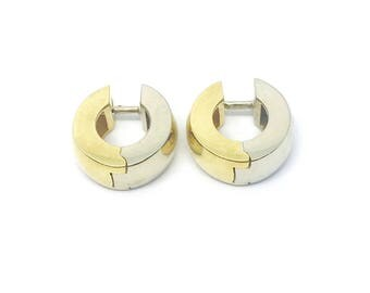 18K Yellow and White Gold Huggie Hoop Earrings- Two Tone Gold - Reversible