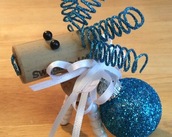 Wine Cork Deer / Reindeer - blue ornament