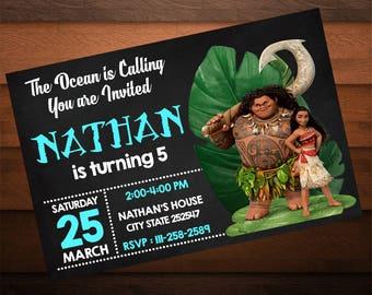 Moana Birthday Invitations, Moana Invite, Hawaii Birthday Party, Moana Invitations for Girls and Boys, Moana Party, Digital Invitation
