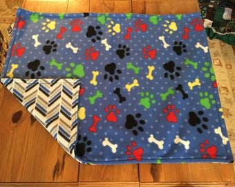 Dog blanket, pet blanket, fleece dog blanket, pawprint, bone, multi color, blue, dog gift, dog Christmas gift, reversible