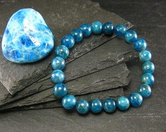 Neon Blue Apatite Genuine Bracelet ~ 7 Inches  ~ 8mm Round Beads