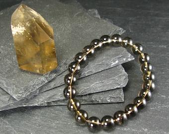 Smoky Quartz Genuine Bracelet ~ 7 Inches  ~ 8mm Round Beads