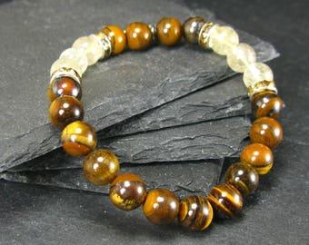 Tiger Eye & Rutilated Quartz Genuine Bracelet ~ 7 Inches  ~ 8mm Round Beads