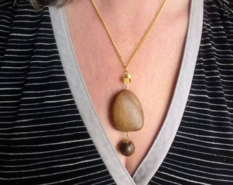 hardwood pendant necklace gold brown boho bijoux wooden necklace bead wire wrapped
