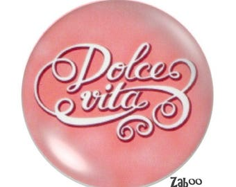 1 cabochon 30mm glass, Dolce vita, pink
