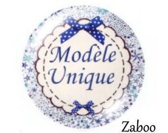 2 cabochons 20mm glass, OOAK, flowered blue tone