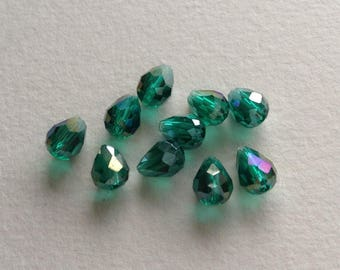 x 10 glass faceted drops
