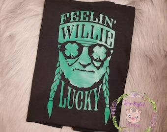 Willie Lucky Vinyl Shirt/Lucky Willie Shirt/Nelson Green Hippie Shirt/Preppy County Shirt/Country Girl Shirt/Country Music Singer Shirt