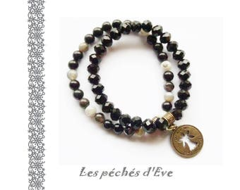 Bracelets beads semi precious agate - quartz 6 mm